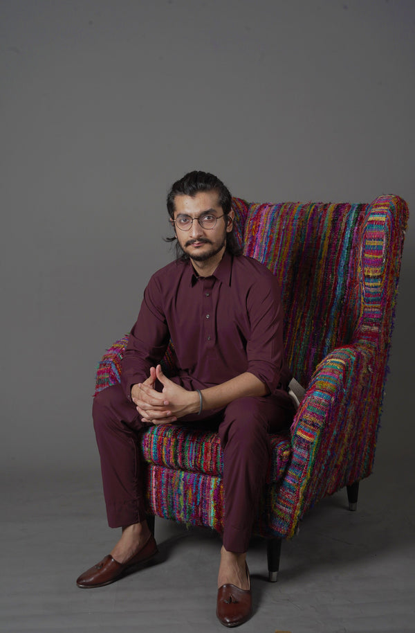 Wine Red Maroon Manto Two Piece Suit With Peshawar Collar Style Design Ultra Comfortable Material Easy Wear For Men