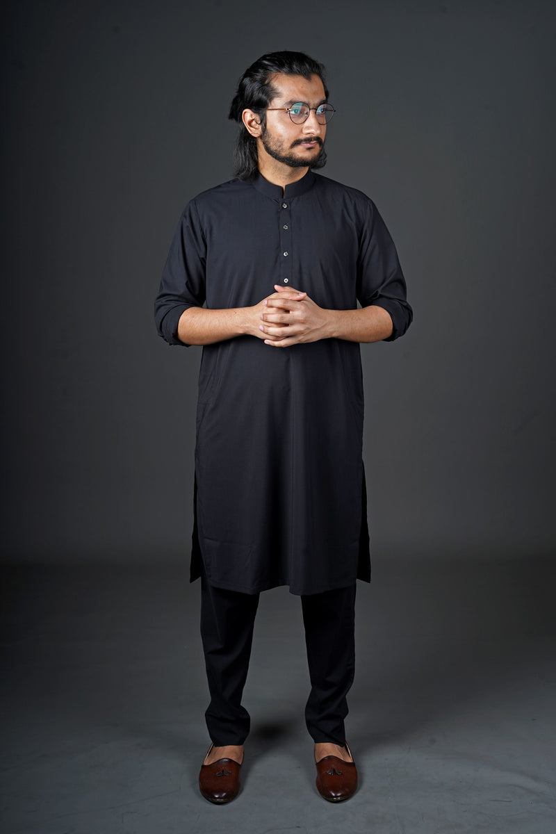 Jet Black Manto Two Piece Shalwar Kurta Suit For Men With Sherwani Chinese Collar Design And Ultra Comfortable Material