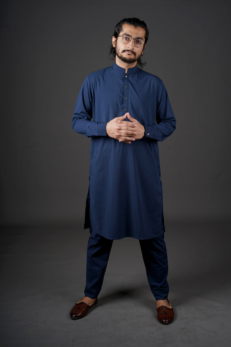 Midnight Royal Navy Blue Manto Two Piece Shalwar Kurta Suit For Men With Sherwani Collar Design And Ultra Comfortable Material