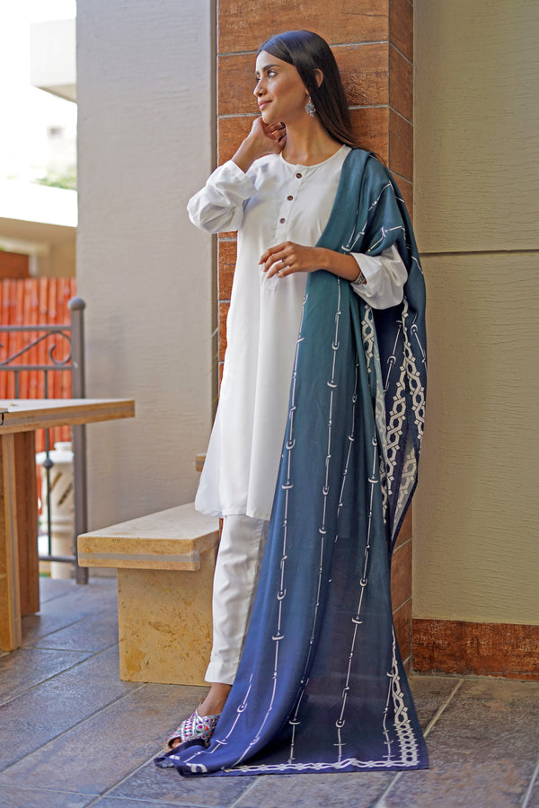 Azad Urdu Stripes In Shaded Teal - Manto
