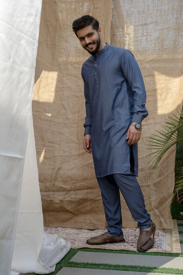 Denim Blue Sherwani (Men)