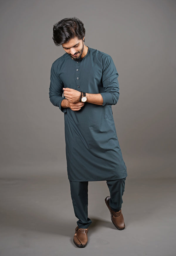Dark Emerald Green Shalwar Kurta 2 Piece Suit by Wear Manto Designed To Maximise Comfort For Men Collarless Style Easy to Wear