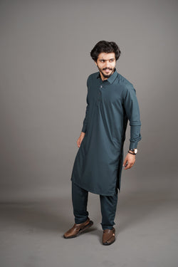 Dark Emerald Green Shalwar Kurta 2 Piece Suit by Wear Manto Designed To Maximise Comfort For Men Peshawari Collar Style Easy to Wear