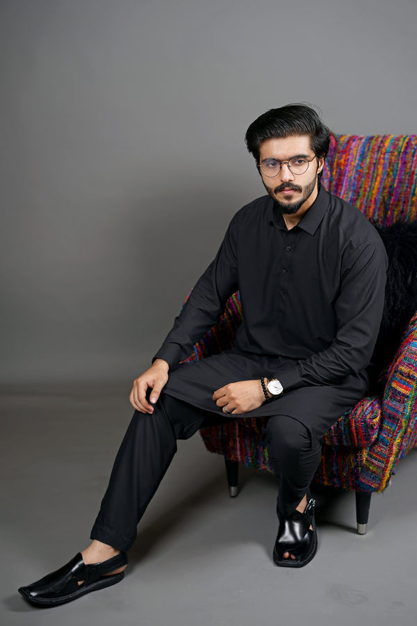 Jet Black Manto Two Piece Shalwar Kurta Suit For Men With Peshawar Collar Design And Ultra Comfortable Material