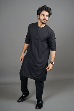 Jet Black Manto Two Piece Shalwar Kurta Suit For Men With Lucknow Collarless Design And Ultra Comfortable Material