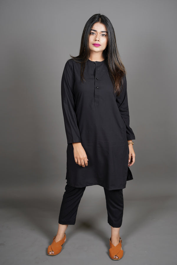 Jet Black Manto Two Piece Shalwar Kurta Suit For Women With Lucknow Collarless Design And Ultra Comfortable Material