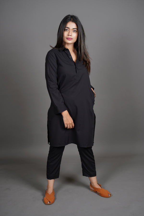 Jet Black Manto Two Piece Shalwar Kurta Suit For Women With Peshawar Collar Design And Ultra Comfortable Material