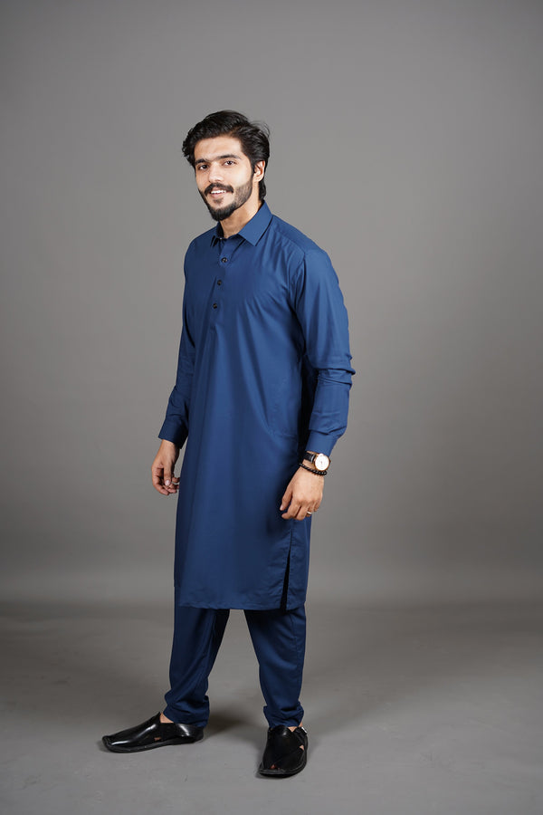 Midnight Royal Navy Blue Manto Two Piece Shalwar Kurta Suit For Men With Peshawar Collar Design And Ultra Comfortable Material