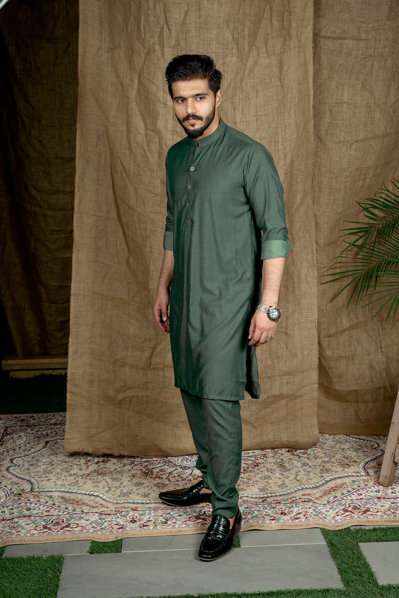 Bottle Green Sherwani (Men)