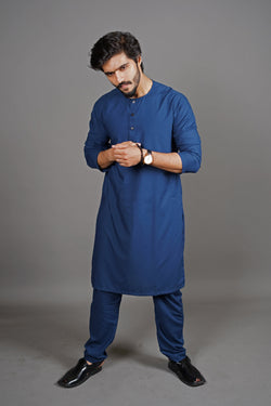 Midnight Royal Navy Blue Manto Two Piece Shalwar Kurta Suit For Men With Lucknow Collarless Design And Ultra Comfortable Material