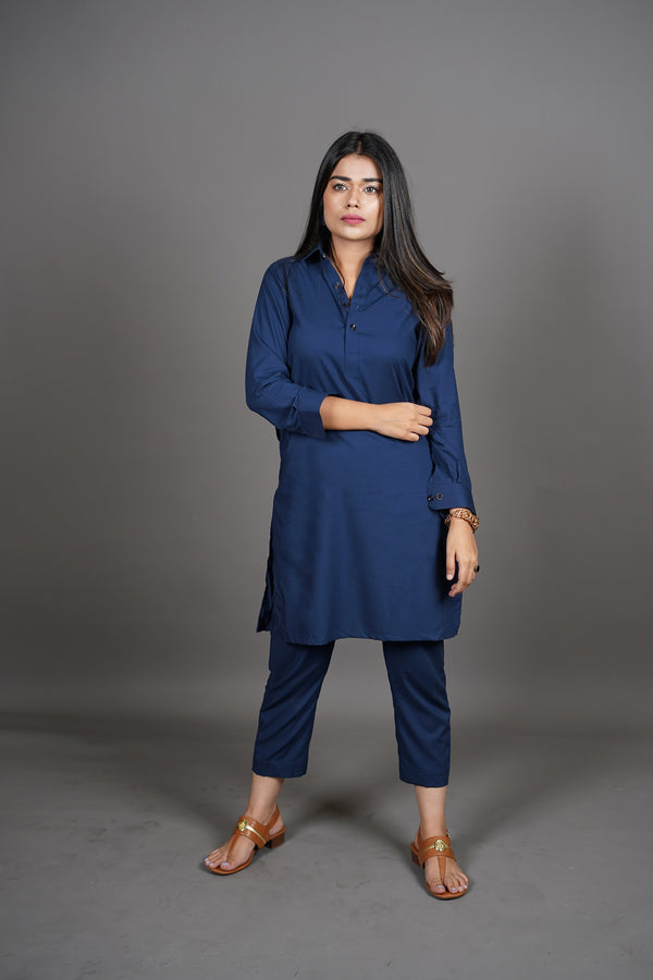 Midnight Royal Navy Blue Manto Two Piece Shalwar Kurta Suit For Women With Peshawar Collar Design And Ultra Comfortable Material