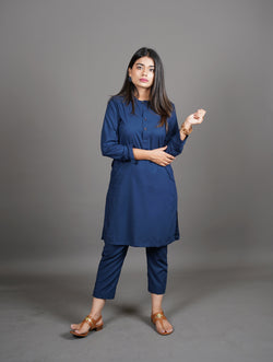 Midnight Royal Navy Blue Manto Two Piece Shalwar Kurta Suit For Women With Lucknow Collarless Design And Ultra Comfortable Material