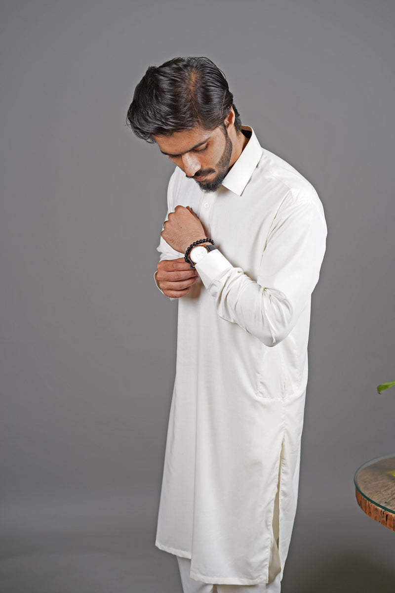 Boski White 2 Piece Suit For Men With Traditional Peshawari Collar In A Classy Minimalist Design by WearManto