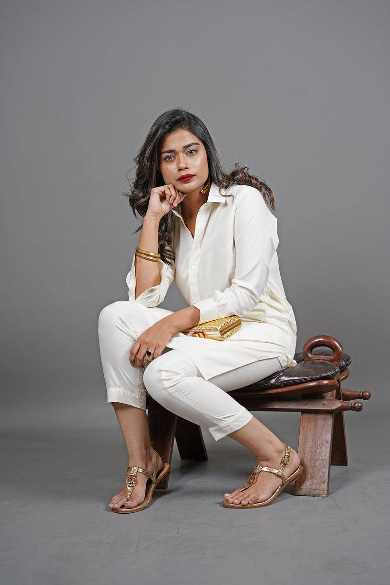 Boski White 2 Piece Suit For Women With Traditional Peshawari Collar In A Classy Minimalist Design