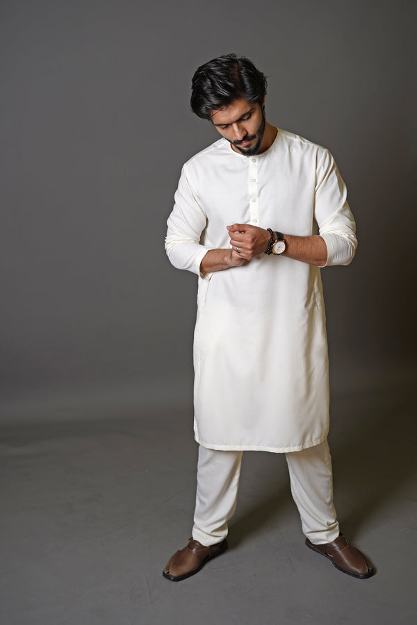 Boski White 2 Piece Suit For Men With Traditional Lucknow Collar In A Classy Minimalist Design