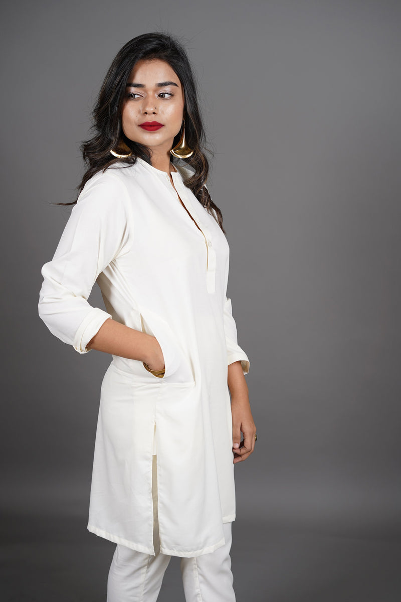 Boski White 2 Piece Suit For Women With Traditional Lucknow Collar In A Classy Minimalist Design