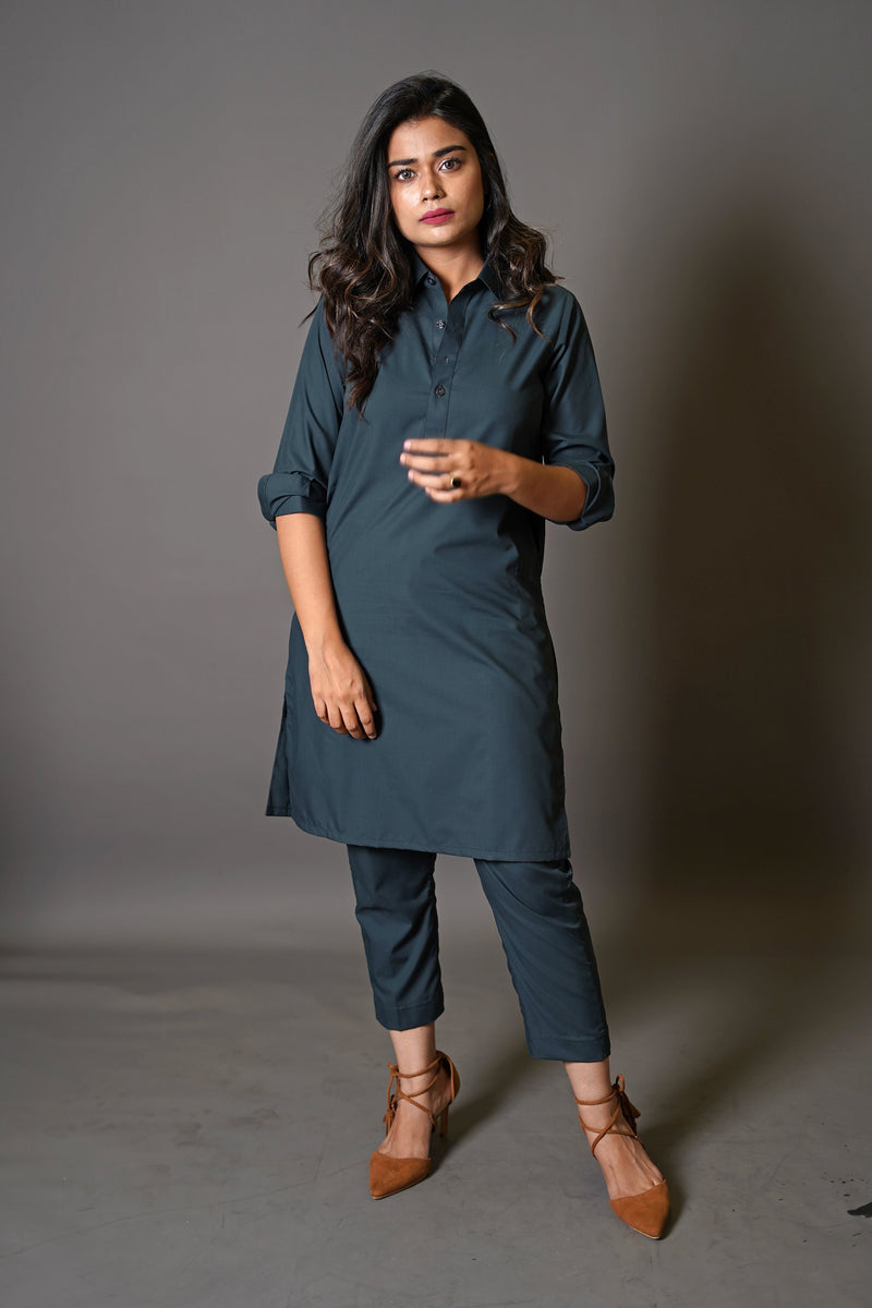 Dark Emerald Green Shalwar Kurta 2 Piece Suit by Wear Manto Designed To Maximise Comfort For Women Peshawari Collar Style Easy to Wear
