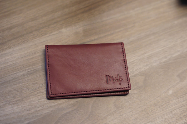 Leather Card Holder - Maroon