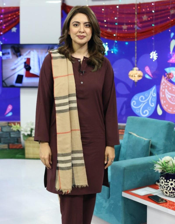 Wine Red Maroon Manto Two Piece Suit With Collarless Lucknow Style Design Ultra Comfortable Material Easy Wear For Women