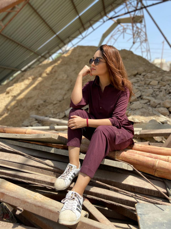 Wine Red Maroon Manto Two Piece Suit With Peshawar Collar Style Design Ultra Comfortable Material Easy Wear For Women