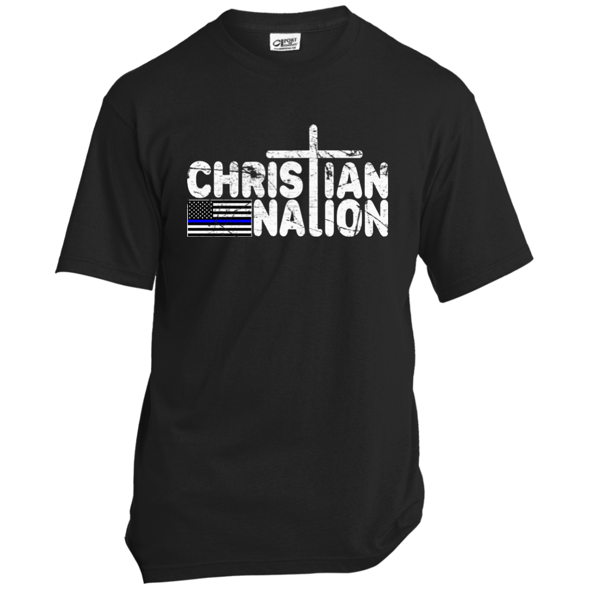 Christian Nation Blue Stripe White Text T Shirts   Blue Cross Flag On Back