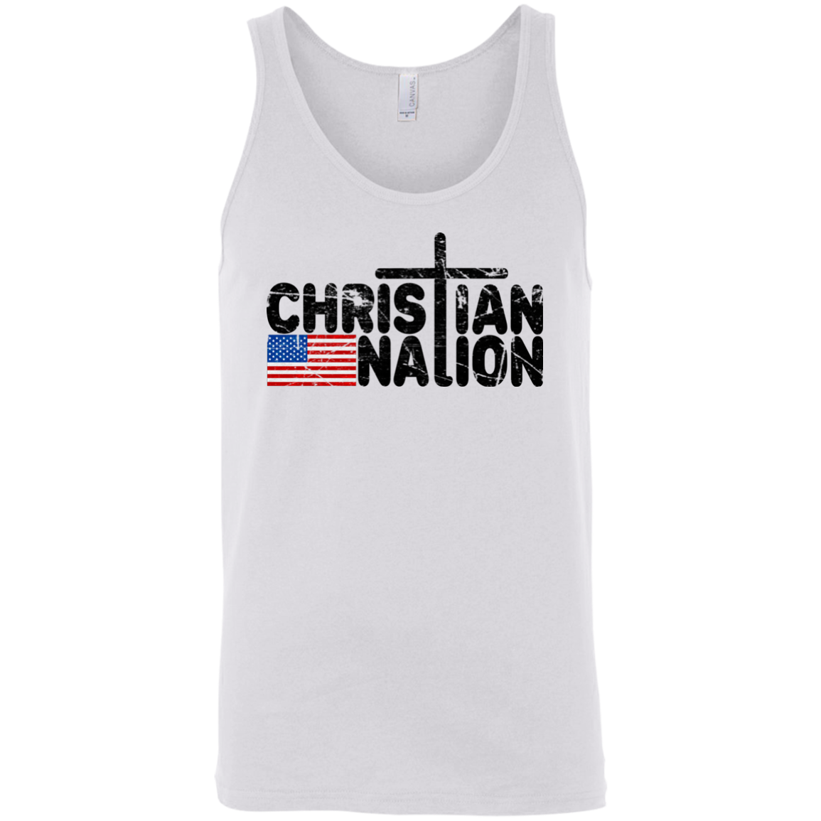 Christian Nation Black Text Tank Tops   Flag With Cross on Back XS 2XL