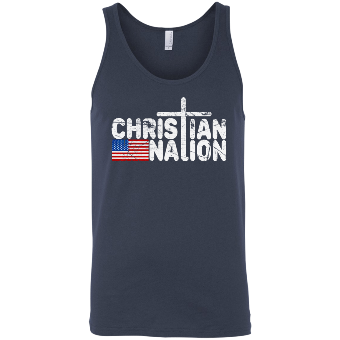 Christian Nation White Text Tank Tops   Flag With Cross on Back XS 2XL