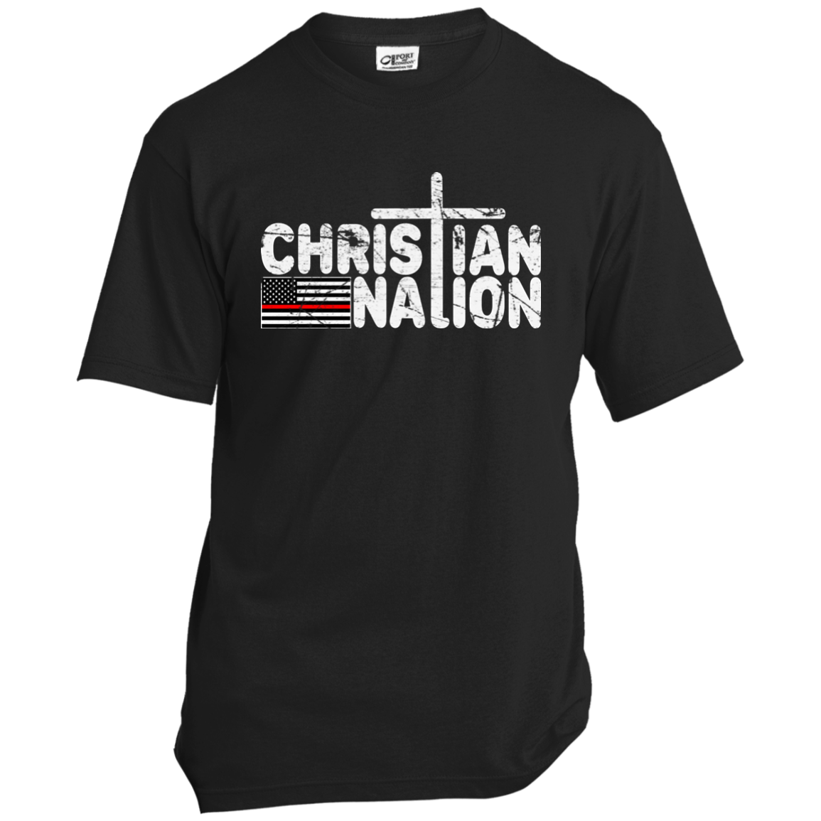 CHRISTIAN NATION RED STRIPE WHITE TEXT T SHIRTS   RED CROSS FLAG ON BACK