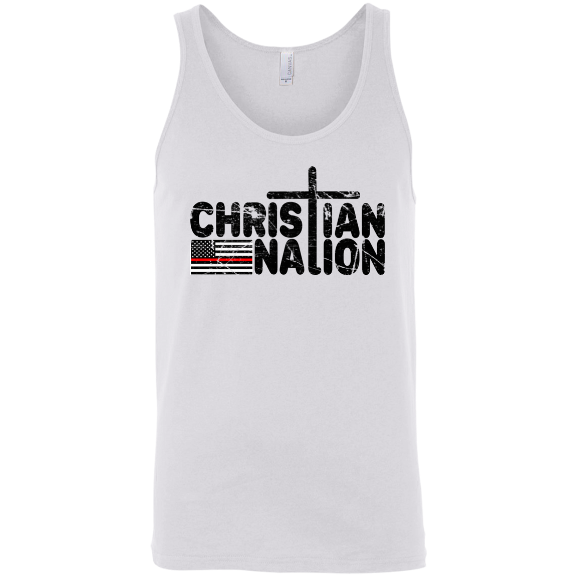 Christian Nation Red Stripe Black Text   Red Cross Neg Flag On Back XS 2XL