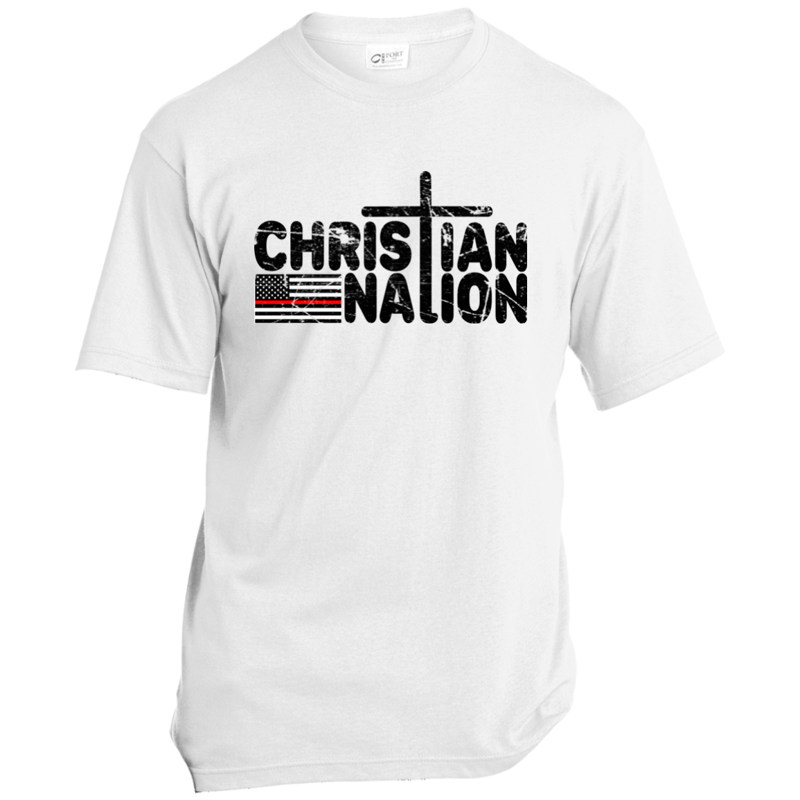 CHRISTIAN NATION RED STRIPE WHITE TEXT T SHIRTS   RED CROSS NEG FLAG ON BACK