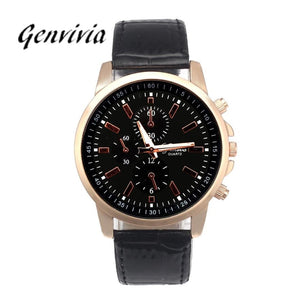 Analog Dial Quartz Sports WristWatch with Leather Strap