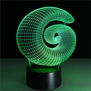 Spiral 3D Night Light / Desk Lamp, 7 Colors, 3D Optical Illusion.