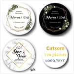 100pcs Personalized Wedding Stickers-Moon & Back-On white-1.18 Inch (3cm)-Moon & Back