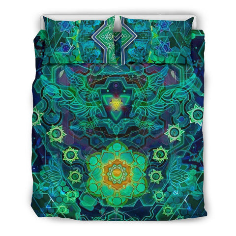Cosmic Abstract Bedding Set - Tripy Psychedelic Design-Moon & Back