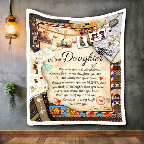 To My Dear Daughter Blanket, Black Daughter Gift-Moon & Back