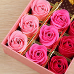 14pcs Rose Soap Flowers Set in Gift Box-Moon & Back-Red-Moon & Back