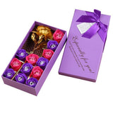 14pcs Rose Soap Flowers Set in Gift Box-Moon & Back-Purple-Moon & Back