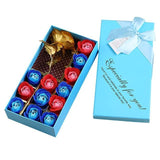 14pcs Rose Soap Flowers Set in Gift Box-Moon & Back-Blue-Moon & Back