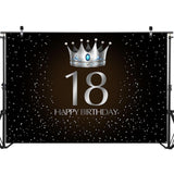 18th Birthday Party Backdrop Silver Crown-Moon & Back-ThinVinyl 98 inches x 98 inches-Moon & Back