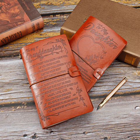 Custom Engraved Leather Retro Journal, To Daughter & To Granddaughter-Moon & Back