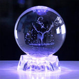 3D Customizable Photo Crystal Globe-Moon & Back-8cm carved rose + rechargeable light base-Moon & Back