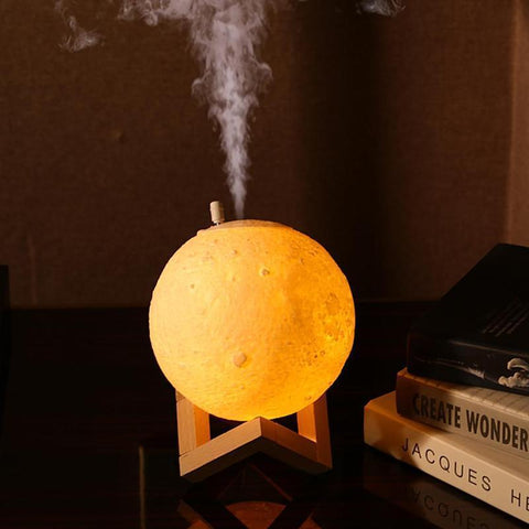 3D Moon Lamp Aroma Essential Oil Diffuser (Large Capacity 880ml)-Moon & Back-USB Plug-Moon & Back