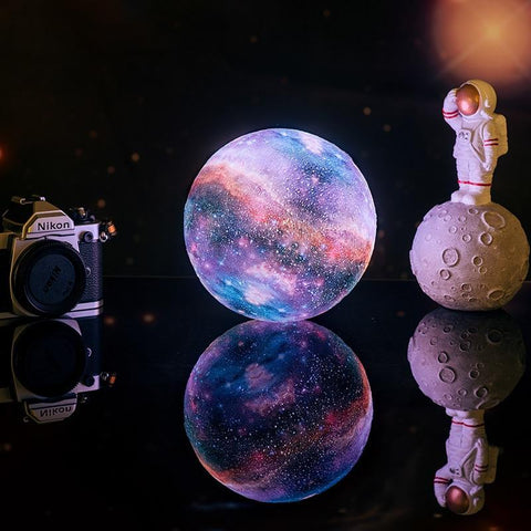 3D Print Star Galaxy Lamp-Moon & Back-16 Colors-8 inces by 8 inches-Moon & Back