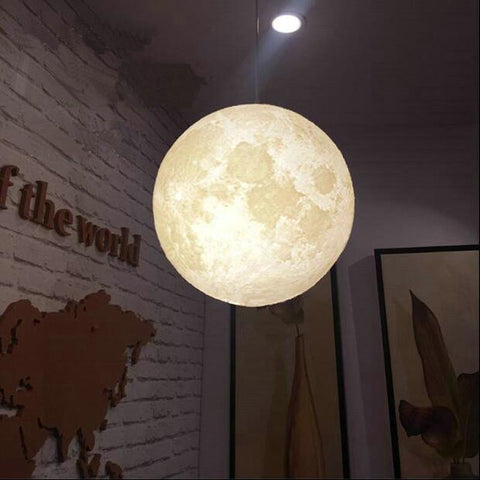 3D Printed Moon Chandelier Light-Moon & Back-3W-diameter 18cm-Cold White-Moon & Back