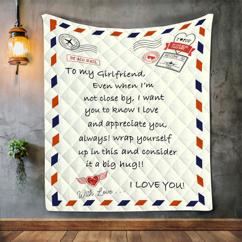 To My Girlfriend Letter Blanket, Best Gift For Girlfriends,Couple Gift-Moon & Back