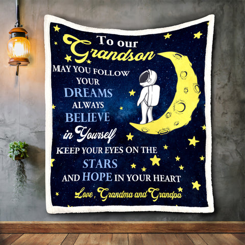 To Our Grandson Blanket, Special Gift for Grandson-Moon & Back