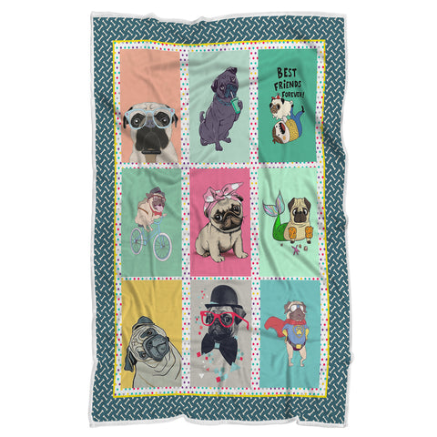 Best Friends Forever Blanket, Blanket for Bulldog Lovers-Moon & Back