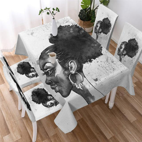 Black Queen African Woman Black-White Rectangular Tablecloth-Moon & Back