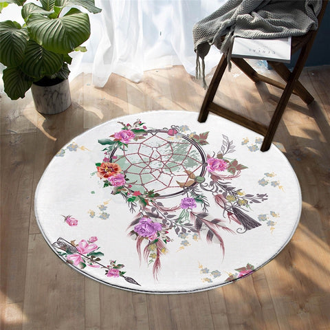Bohemian Dreamcatcher Decorative Floral Rug, Bohemian Round Rug-Moon & Back
