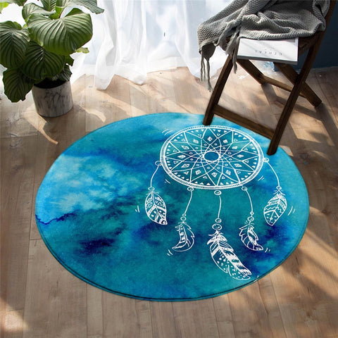Bohemian Dreamcatcher Decorative Turquoise Round Rug, Dreamcatcher Rug-Moon & Back